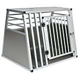 EUGAD Hundebox Box Hundetransportbox Transportbox Alubox Aluminium Alu Box 1 Türig Reisebox Gitterbox Silber 0061HT